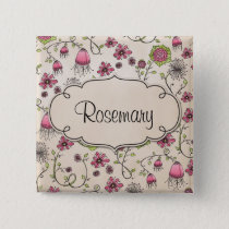 Gracious pink flowers with frame for name button