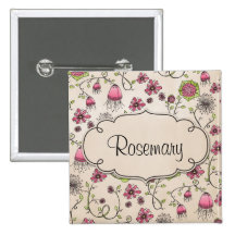 Gracious pink flowers with frame for name pinback button