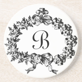 Gracious Serveware Baroque Ribbon Wreath Monogram Coaster