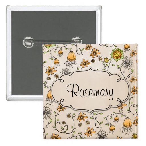Gracious yellow flowers with frame for name pinback button