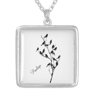 Grackle Shadows Silver Plated Necklace