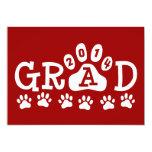 GRAD 2014 Invitations Red White Paws Graduation
