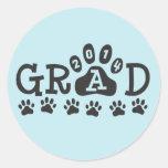 GRAD 2014 PAWS Light Blue - Cute Graduation Round Stickers