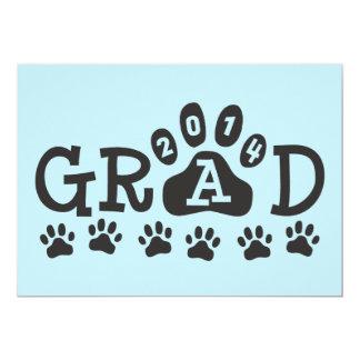 """GRAD 2014 PAWS Light Blue Invitations Announcement 5"""" X 7"""" Invitation Card"""