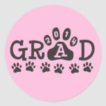 GRAD 2014 PAWS Pink and Black - Cute Graduation Stickers