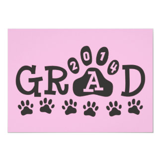 """GRAD 2014 PAWS Pink Black Invitations Announcement 5"""" X 7"""" Invitation Card"""