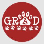 GRAD 2014 Red and White PAWS - Cute Graduation Round Stickers