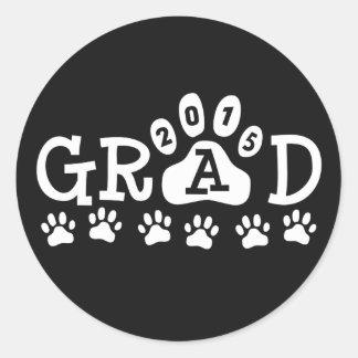 GRAD 2015 Black and White PAWS - Cute Graduation Classic Round Sticker