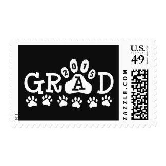 GRAD 2015 Black Paw Print Theme Graduation Stamp