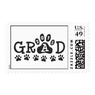 GRAD 2015 Black Paw Print Theme Graduation Stamps
