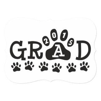 GRAD 2015 Invitations Black White Paws Graduation