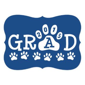 GRAD 2015 Invitations Blue Paws Graduation