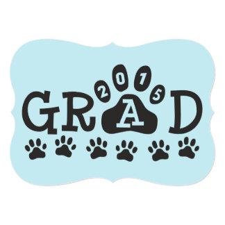 GRAD 2015 Invitations Light Blue Paws Graduation