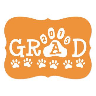 GRAD 2015 Invitations Orange Paws Graduation
