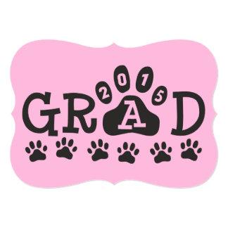 GRAD 2015 Invitations Pink Black Paws Graduation