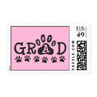 GRAD 2015 Pink Black Paw Print Theme Graduation Stamp