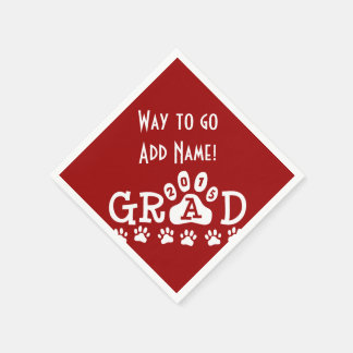 GRAD 2015 Red and White PAWS - Cute Graduation Standard Cocktail Napkin