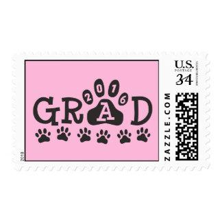 GRAD 2016 Paw Print Pink Theme Graduation Postage