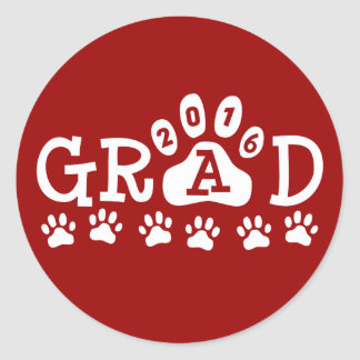 GRAD 2016 Red and White PAWS - Cute Graduation Classic Round Sticker