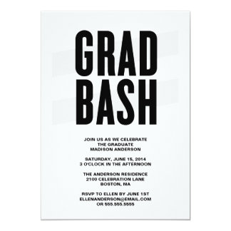 "Grad Bash | Graduation Party Invitation 5"" X 7"" Invitation Card"