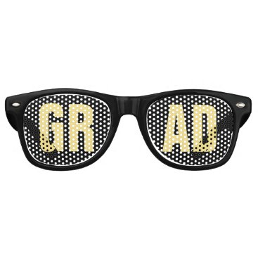 Professional Business 'GRAD' Black and Gold Graduation Party Retro Sunglasses
