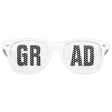 Beach Themed 'GRAD' Black and White Graduation Party Retro Sunglasses