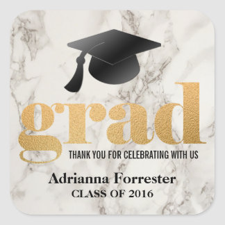 Grad Bold Typography Faux Gold Foil Marble Pattern Square Sticker