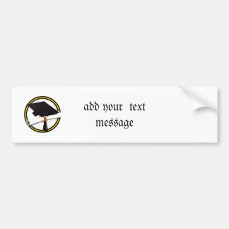 Grad Cap & Diploma (1) Gold & Black Bumper Sticker