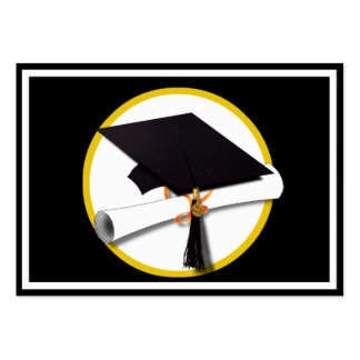 Grad Cap & Diploma - Black Background Large Business Cards (Pack Of 100)