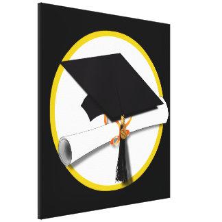 Grad Cap & Diploma - Black Background Canvas Print