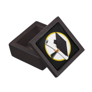 Grad Cap & Diploma - Black Background Jewelry Box