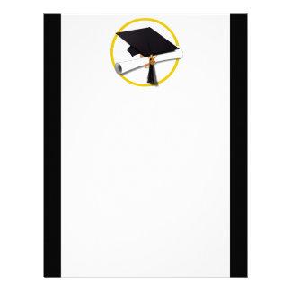 Grad Cap & Diploma - Black Background Letterhead
