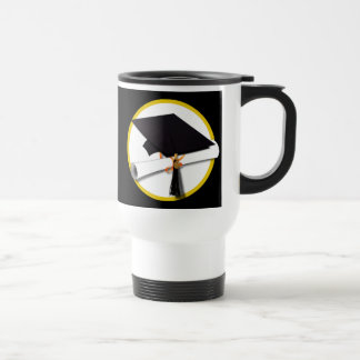 Grad Cap & Diploma - Black Background Travel Mug