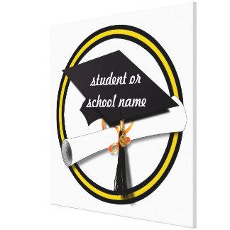 Grad Cap & Diploma - Gold and Black School Colors Canvas Print
