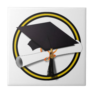 Grad Cap & Diploma - Gold and Black School Colors Ceramic Tile