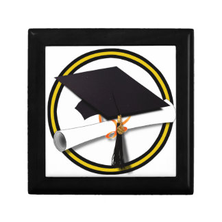 Grad Cap & Diploma - Gold and Black School Colors Gift Box