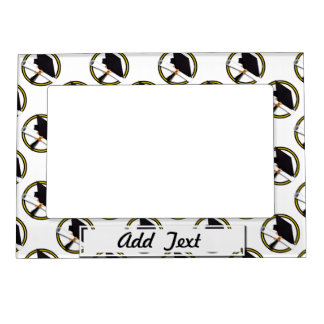 Grad Cap & Diploma - Gold and Black School Colors Magnetic Picture Frame