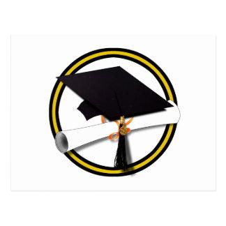 Grad Cap & Diploma - Gold and Black School Colors Postcard