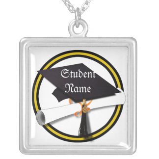 Grad Cap & Diploma - Gold and Black School Colors Silver Plated Necklace