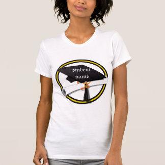 Grad Cap & Diploma - Gold and Black School Colors T-Shirt