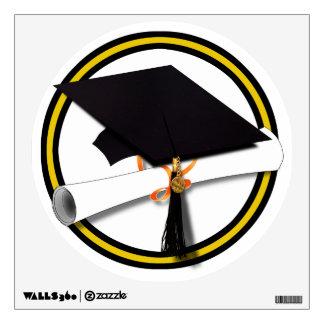 Grad Cap & Diploma - Gold and Black School Colors Wall Decals