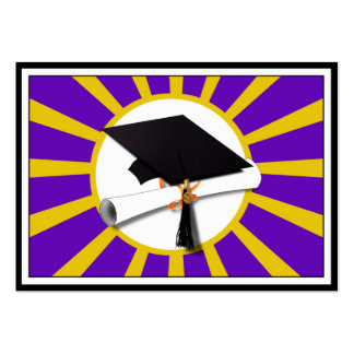 Grad Cap & Diploma - Purple and Gold School Colors Large Business Cards (Pack Of 100)
