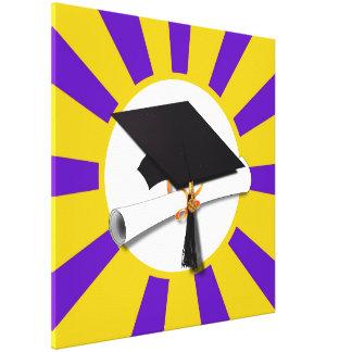 Grad Cap & Diploma - Purple and Gold School Colors Canvas Print