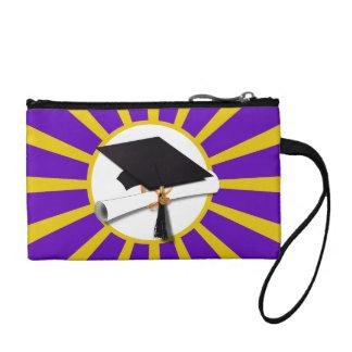 Grad Cap & Diploma - Purple and Gold School Colors Coin Purse