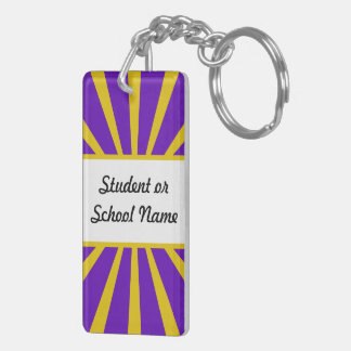 Grad Cap & Diploma - Purple and Gold School Colors Double-Sided Rectangular Acrylic Keychain