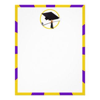 Grad Cap & Diploma - Purple and Gold School Colors Flyer