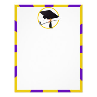 Grad Cap & Diploma - Purple and Gold School Colors Letterhead