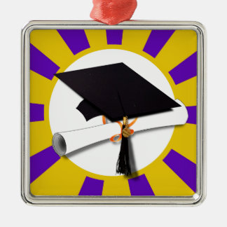 Grad Cap & Diploma - Purple and Gold School Colors Metal Ornament
