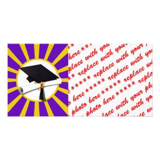 Grad Cap & Diploma - Purple and Gold School Colors Customized Photo Card