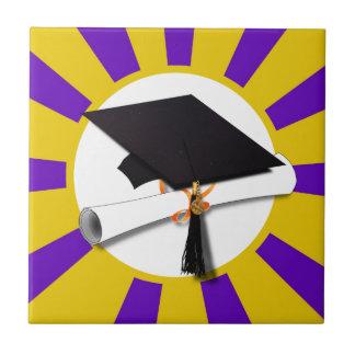 Grad Cap & Diploma - Purple and Gold School Colors Tile